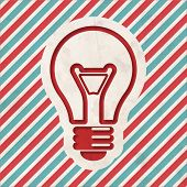 Light Bulb Icon on Striped Background.
