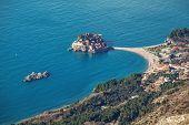 Seascape Montenegro. Budva and Sveti Stefan.