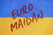Ukraine Flag Painted On Old Concrete Wall With Euro Maidan Inscription