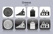 Landmarks of Greece. Set of monochrome icons. Raster image (check my portfolio for options.)