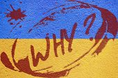 Ukraine Flag Painted On Old Concrete Wall With Riot Inscription