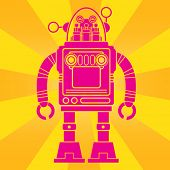 Vintage Tin Toy Robot Pop Art Design