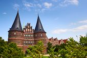 The Holstein Gate (holstentor) In Lubeck, Germany