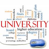 University Word Cloud Concept With Mouse