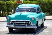 Old American Car In A Street Of Havana, Cuba