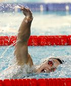BARCELONA - JUNE, 11: Hungarian swimmer Katinka Hosszu swimming freestyle during the Mare Nostrum me