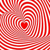 Design Heart Swirl Rotation Illusion Background. Abstract Striped Distortion Backdrop