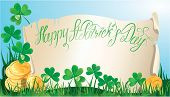 Holiday Card With Calligraphic Words Happy St. Patrick`s Day. Old Scroll, Shamrock And Golden Coin O