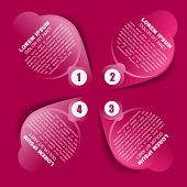 Abstract pink vector background with four steps and place for text content. Can be used for brochure