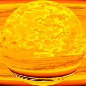 Imaginary molten planet, allegoric depiction of nuclear energy