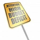 High Budget Deficit Road Sign