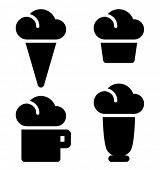Ice cream, cake, beverage and milk shake black vector icons