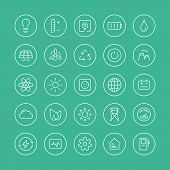 picture of atom  - Flat thin line icons modern design ios style vector set of power and energy symbol natural renewable energy technologies such as solar wind water geothermal heat bio fuel and other innovation ecology recycling elements - JPG
