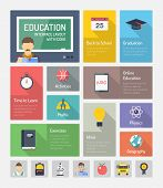 stock photo of graduation  - Flat design style modern vector illustration concept of infographic website navigation elements with icons set of online education with teaching and learning symbol studying and educational objects - JPG