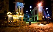 stock photo of bambi  - Jan Shardeni and Bambis Rigi streets in the old town of Tbilisi by night - JPG