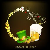 Happy St. Patrick's Day celebration poster, banner or flyer with beer mug, hat on golden clover leaves decorated brown background.