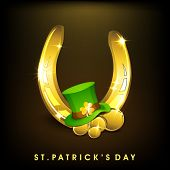 Happy St. Patrick's Day celebration poster, banner or flyer with golden horse shoe, St. Patrick's hat and gold coins on brown background.