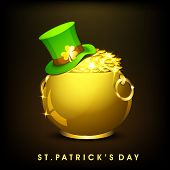 Happy St. Patrick's Day celebration poster, banner or flyer with golden pot full of gold coins, hat
