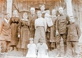 POLAND, CIRCA TWENTIES - Vintage photo of family with children