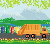 stock photo of segregation  - segregation of garbage with truck card  - JPG