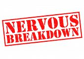 image of nervous breakdown  - NERVOUS BREAKDOWN red Rubber Stamp over a white background - JPG