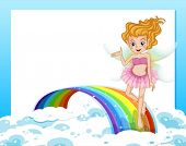 Illustration of an empty template with a fairy above the rainbow