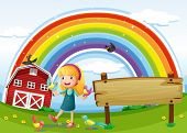 Illustration of a girl beside the empty signboard with a rainbow in the sky