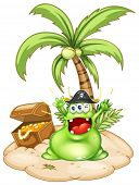 Illustration of a happy green monster in an island with a treasure box on a white background