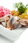 Salted Fish with  Boiled Potato and Pickled Onions