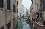 Fondamenta, Teatro And Ponte De La Fenice In Venice, Italy.