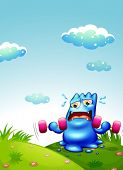 stock photo of hilltop  - Illustration of a blue monster exercising at the hilltop - JPG