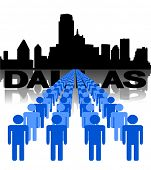 Lines of people with Dallas skyline vector illustration