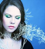 pic of cold-shoulder  - Young woman with winter twig - JPG