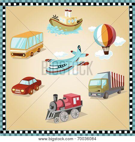 Постер, плакат: Transport Facilities Illustration, холст на подрамнике