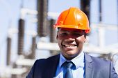 close up portrait of african electrical manager