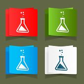 Set icons chemical experiments blue background