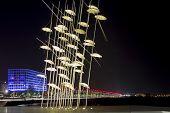 Thessaloniki Umbrellas Sculpture At Night In Greece.