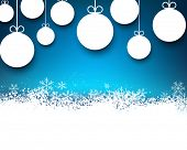 Blue winter abstract background with paper christmas balls and sparkles. Vector.
