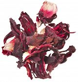Hibiscus Flower Petals tea Heap pile surface top view isolated on white background
