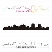Colorado Springs Skyline Linear Style With Rainbow