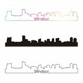 Windsor Skyline Linear Style With Rainbow
