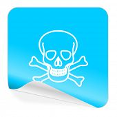 skull blue sticker icon
