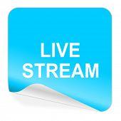 live stream blue sticker icon