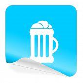 beer blue sticker icon