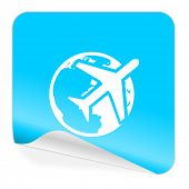 travel blue sticker icon