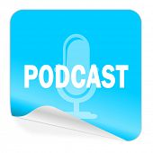 podcast blue sticker icon