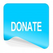 donate blue sticker icon