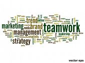 Vector eps concept or conceptual abstract teamwork and success word cloud or word cloud isolated on