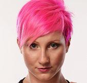 Pink hair woman punk portrait.Punk girl.