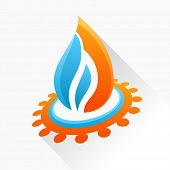 Vector symbol fire with gear. Blue and orange flame glass icon with long shadow isolated